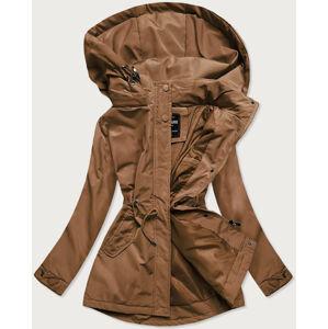 Dámská bunda parka v karamelové barvě (RQW-6852) brązowy XXL (44)