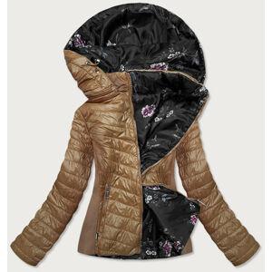 Prošívaná oboustranná dámská bunda v karamelové barvě (RQW-6844) brązowy S (36)