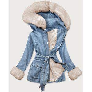 Světle modro-béžová dámská džínová bunda s kožešinovou podšívkou (9026#) niebieski 54