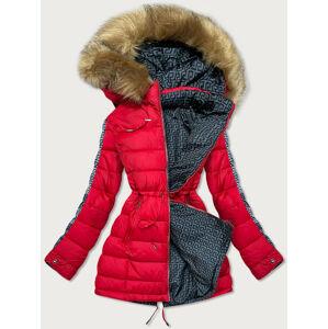 Červeno-šedá oboustranná dámská zimní bunda (MHM-W556) czerwony S (36)