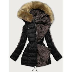 Černo-hnědá oboustranná dámská zimní bunda (MHM-W556) brązowy L (40)