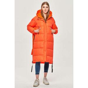 Dlouhá neonově oranžová zimní bunda z různých spojených materiálů (JIN-210) oranžový S (36)