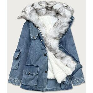 Světle modro/bílá dámská džínová bunda s kožešinovým límcem (BR9585-50026) Modrá XS (34)