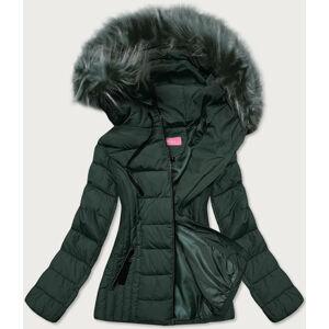Tmavě zelená tenká dámská zimní bunda s kapucí (8943-M) zelená S (36)