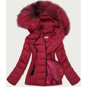 Tenká červená dámská zimní bunda s kapucí (8943-B) Červená S (36)