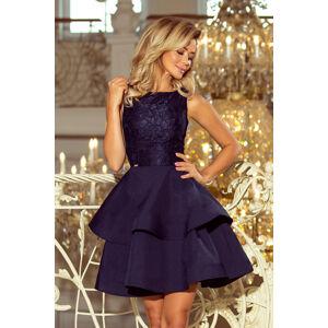 Tmavě modré dámské dvojitě rozšířené šaty s krajkovou vrchní částí model 6408775 M