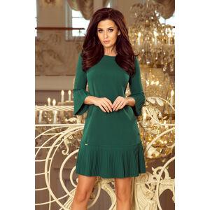 Pohodlné dámské plisované šaty v lahvově zelené barvě model 7393795 XL