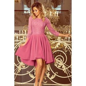Dámské šaty v lila barvě s krajkou a delším zadním dílem model 7235195 XL