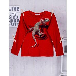Červená dětská halenka s potiskem ještěrky