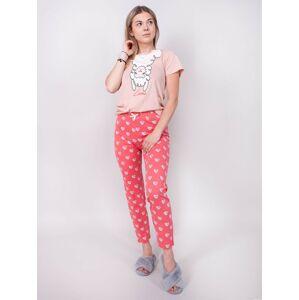 Dámské pyžamo YO! PJ-003 kr/r S-XL pudrowy L