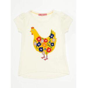 Dívčí tričko Ecru s barevnou slepicí 98