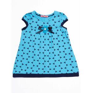 Dívčí modré šaty se vzorem a mašlí 74