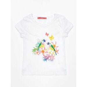 Bílé tričko pro dívku s exotickým potiskem a flitry 74