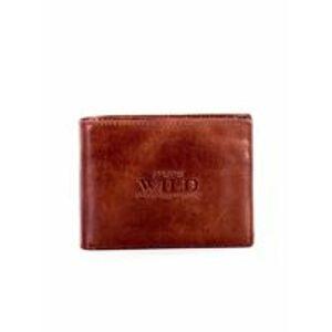 Pánská měkká peněženka z přírodní kůže, světle hnědá ONE SIZE