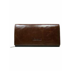 Hnědá kožená dámská dlouhá peněženka ONE SIZE