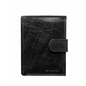Černá kožená pánská peněženka se sponou ONE SIZE