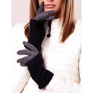 Černé a grafitové izolované rukavice s vlnou ONE SIZE