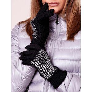 Černé rukavice s vlněnou a stříbrnou aplikací ONE SIZE