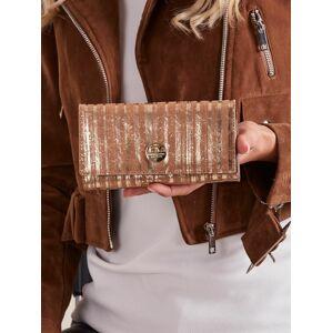 Dámská zlatá pruhovaná kožená peněženka jedna velikost