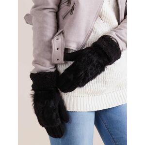 Černé dámské rukavice s umělou kožešinou ONE SIZE