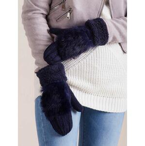 Dámské rukavice s umělou kožešinou, tmavě modré ONE SIZE