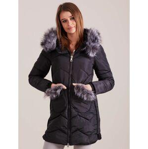 Dámská zimní bunda s kožešinou, černá S