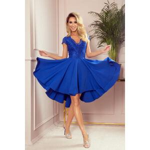 PATRICIA - Dámské šaty v chrpové barvě s delším zadním dílem a krajkovým výstřihem 300-3 M