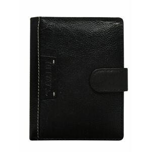 Pánská černá kožená peněženka s klopou jedna velikost