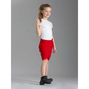 Dívčí červená sukně s knoflíky 116