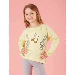 Dívčí halenka s hudební aplikací ve světle žluté barvě
