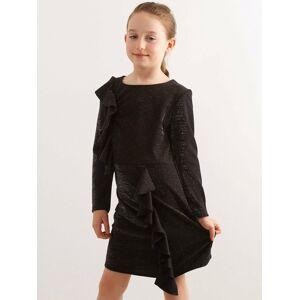 Dětské černé brokátové šaty s volánky 128