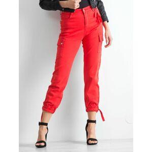 Červené kalhoty s kapsami 40