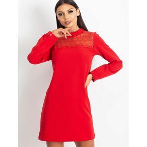 Červené šaty s dlouhým rukávem S