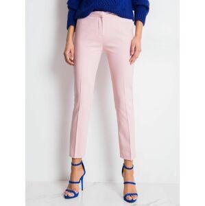 Elegantní světle růžové dámské kalhoty RUE PARIS 44
