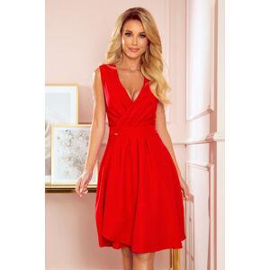 ELENA - Elegantní červené dámské šaty s dekoltem a záložkami 338-1 M