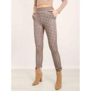 Béžové a černé kárované kalhoty BSL L
