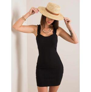 RUE PARIS Černé pruhované šaty S