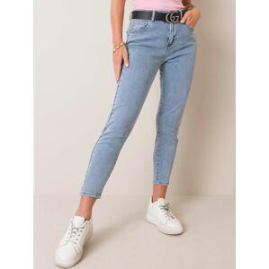 Modré dámské džíny s vysokým pasem XS