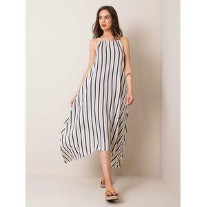 Bílé a béžové asymetrické pruhované šaty S