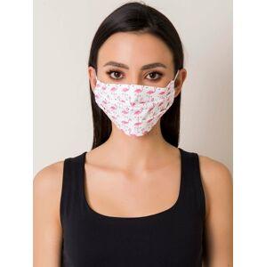 Bílá bavlněná ochranná maska s plameňáky ONE SIZE
