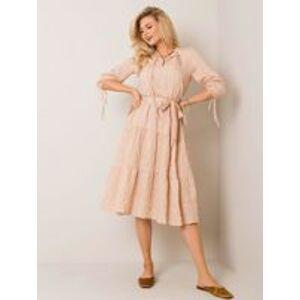 Béžové pruhované šaty 38