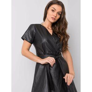 RUE PARIS Černé šaty z ekokože M