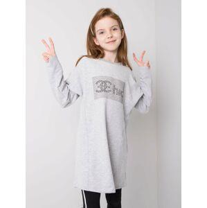 Bavlněná tunika z šedé melanže pro dívku 140