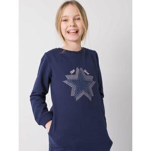 Tmavě modrá tunika pro dívku s dlouhými rukávy 122