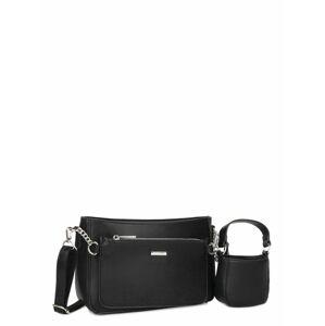 LUIGISANTO Černá dámská kabelka z ekologické kůže ONE SIZE