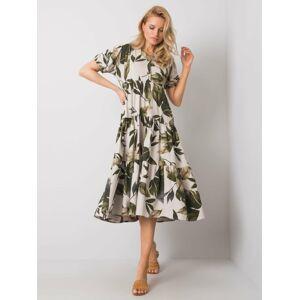 RUE PARIS Béžovo-khaki šaty s potiskem L