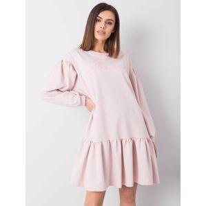 Prachové růžové bavlněné šaty s volánkem jedna velikost