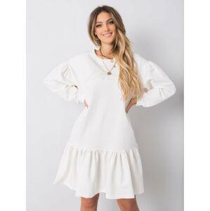 Bílé bavlněné šaty s volánkem jedna velikost