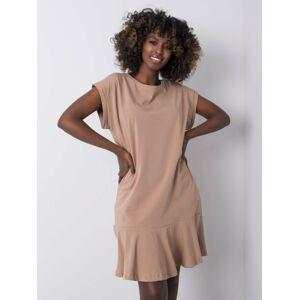 Tmavě béžové bavlněné šaty jedna velikost