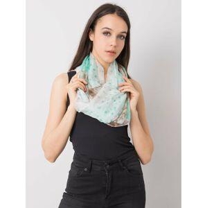 Zelený a béžový šátek s potiskem jedna velikost